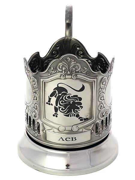 Никелированный подстаканник с гравировкой Знак Зодиака - Лев КольчугиноНикелированный подстаканник в комплекте с чайной ложкой.<br>