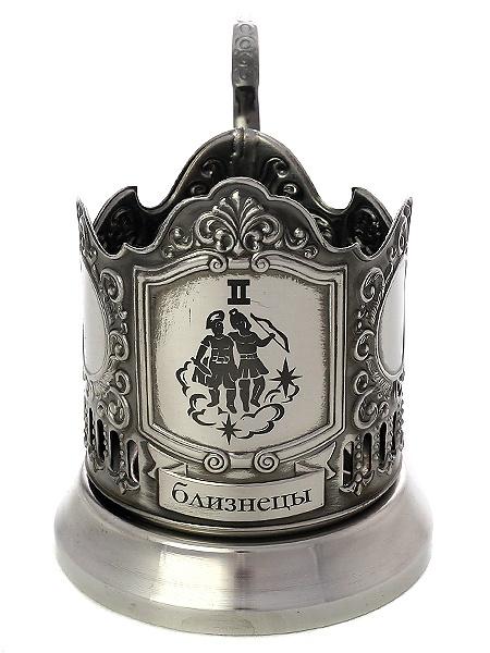 Никелированный подстаканник с гравировкой Знак зодиака - Близнецы КольчугиноНикелированный подстаканник в комплекте с чайной ложкой.<br>