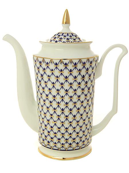 Кофейник форма Юлия, рисунок Кобальтовая сетка, Императорский фарфоровый заводФарфоровый кофейник.&#13;<br>Объем - 690 мл.<br>