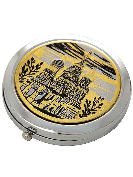 Позолоченное зеркало с гравюрой Собор ЗлатоустЗеркало подарочно-сувенирное позолоченное с гравюрой.&#13;<br>Упаковано в стильную дизайнерскую коробку.&#13;<br>Ручная работа.<br>
