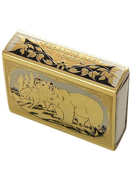 Футляр для спичек с гравюрой Волк и медведь ЗлатоустФутляр для спичек позолоченный с гравюрой.&#13;<br>Ручная работа.<br>