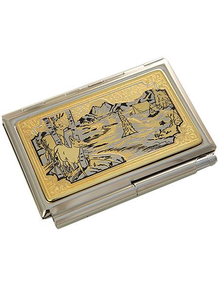 Позолоченная визитница с гравюрой Олени ЗлатоустСувенирная визитница с позолотой с гравюрой.&#13;<br>Упакована в стильную дизайнерскую коробку.&#13;<br>Ручная работа.<br>