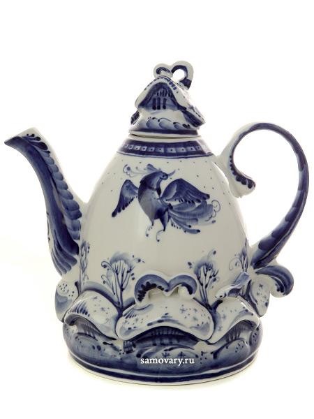 Чайник заварочный Деревенька большой с росписью ГжельЧайник керамический с ручной росписью.<br>