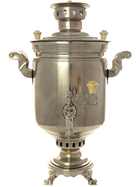 Угольный самовар 5 литров цилиндр никелированный, произведен в середине 20 века на Тульском Патронном Заводе, арт. 451830Латунный самовар с никелированным покрытием.&#13;<br>Восстановлен и готов к использованию.&#13;<br>Внутри самовара - новое пищевое лужение<br>