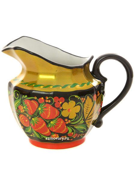 Сливочник с художественной росписью Черный фон.Хохлома классическая, ВербилкиФарфоровый сливочник.<br>Объем - 300 мл.<br>