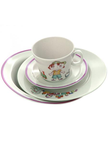 4-x предметный детский чайный комплект форма Молодежная рисунок Мишенька, Императорский фарфоровый заводФарфоровая чайная пара и две тарелки.<br>Объем  - 210 мл.<br>