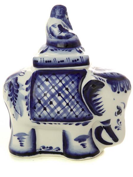 Чайница Слоник с росписью ГжельЕмкость для хранения чая.<br>Высота - 17,5 см.<br>