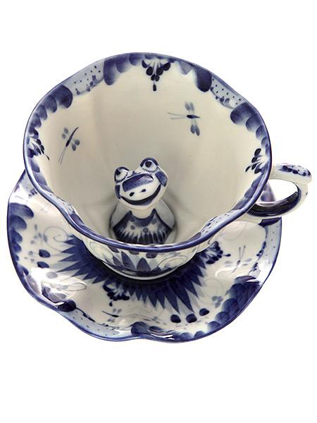 Чайная пара детская с художественной росписью Гжель С лягушкойКерамическая чайная пара с ручной росписью.<br>Объем - 160 мл.<br>