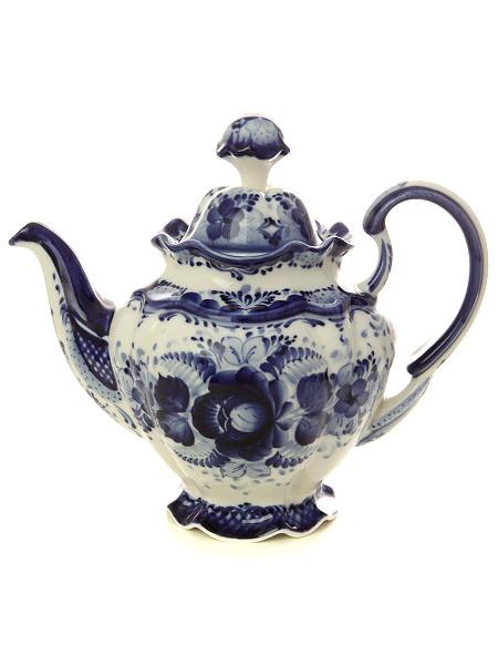 Чайник заварочный керамический Гжель Семейный №3Чайник керамический с ручной росписью.<br>Объем - 640 мл.<br>
