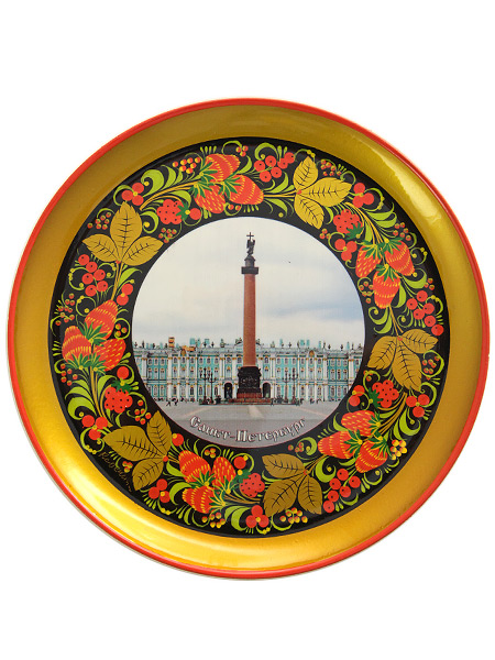 Тарелка-панно хохлома Санкт-Петербург.Александровская колонна на Дворцовой площади 210Х21Деревянная тарелка-панно с хохломской росписью.&#13;<br>Размер - 210х21 мм.<br>