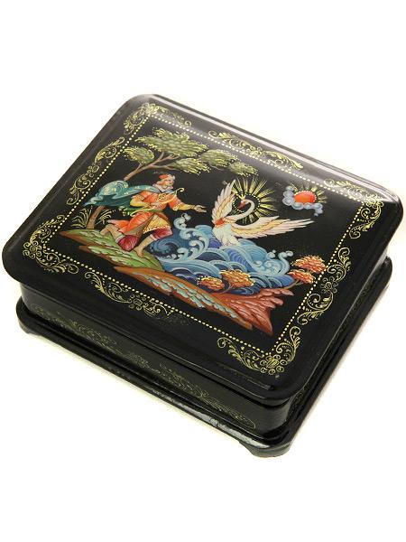 Шкатулка Царь Гвидон, 16*11, ХолуйШкатулка из папье-маше с ручной росписью. <br>Размер - 16 х 11 см.<br>
