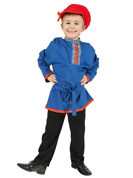 Косоворотка детская хлопковая синяя, 1-6 лет