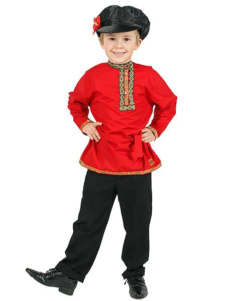 Косоворотка детская хлопковая красная, 1-6 лет