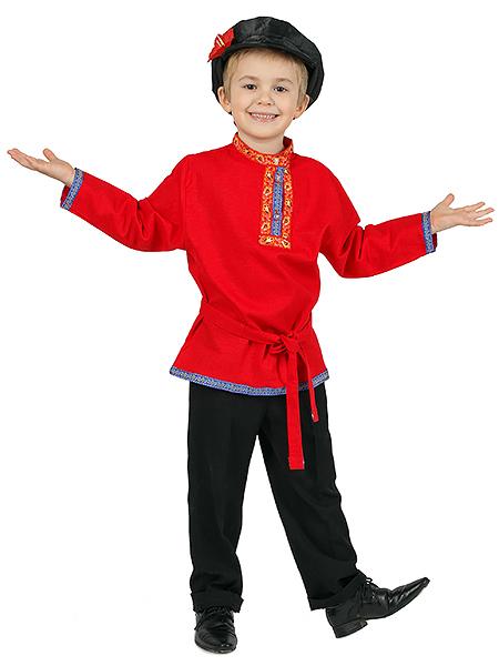 Косоворотка для мальчика льняная красная, 1-6 лет
