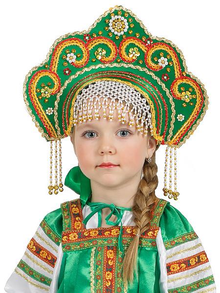 Кокошник для девочки Фантазия зеленыйСимвол традиционного русского костюма.<br>