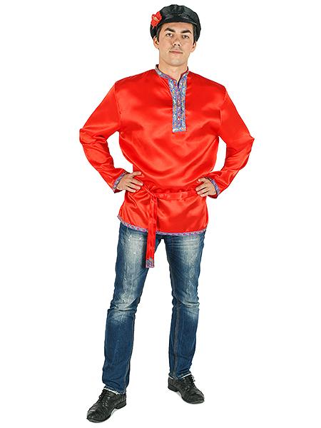 Косоворотка мужская атласная красная, 3XL-5XLТрадиционная русская рубаха с косым воротом.<br>Размер от 3XL-5XL.<br>
