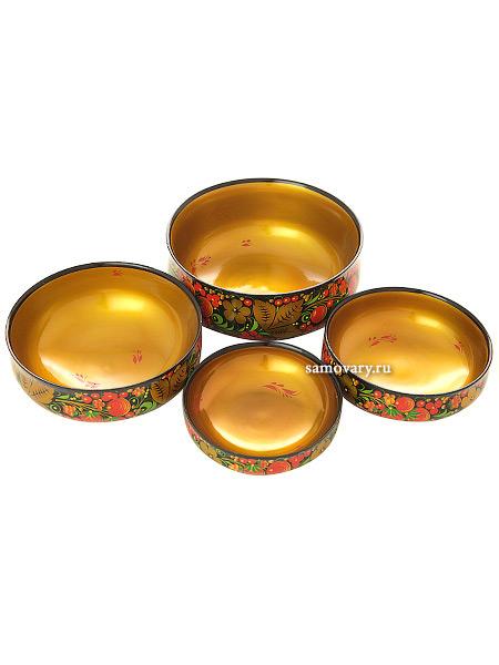 Деревянный набор из 4 салатниц Хохлома классическаяДеревянный набор из 4-ех салатниц с хохломской росписью.<br>