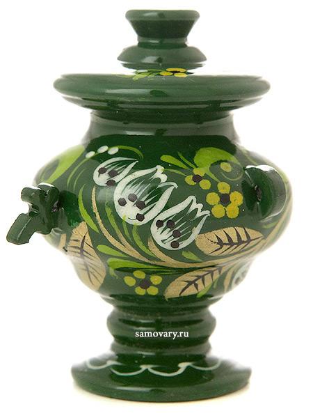 Сувенирный самовар Хохлома на зеленом фонеДеревянный сувенир с росписью.&#13;<br>Высота - 6,5 см.<br>