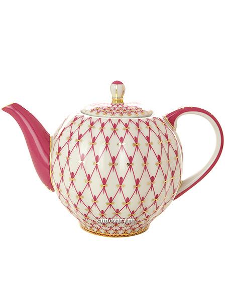 Чайник заварочный, форма Тюльпан, рисунок Сетка-блюз, Императорский фарфоровый заводФарфоровый чайник.<br>Объем - 600 мл.<br>