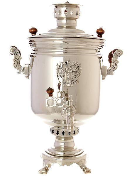 Комбинированный самовар 7 литров никелированный цилиндр с накладным Гербом РФ, арт. 331014Самовар комбинированный&#13;<br>никелированный цилиндр с накладным гербом.&#13;<br>Труба для отвода дыма в комплекте.<br>