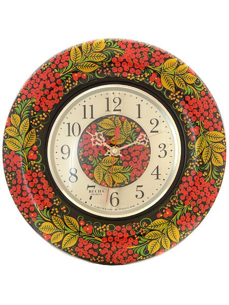 Часы с ручной художественной росписью Черный фон.РябинаНастенные часы.<br>Диаметр 31 см<br>