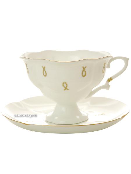 Чашка с блюдцем чайная форма Наташа, рисунок Петельки, Императорский фарфоровый заводФарфоровая чайная пара.<br>Объем - 220 мл.<br>