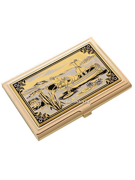 Позолоченная визитница с гравюрой Охотники ЗлатоустСувенирная визитница с позолотой с гравюрой.<br>Упакована в стильную дизайнерскую коробку.<br>Ручная работа.<br>