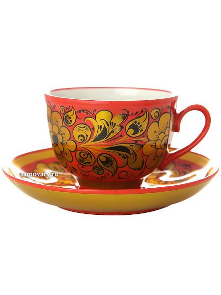 Чайная пара с художественной росписью Кудрина на красном фонеКерамическая чашка и блюдце.<br>Объем - 250 мл.<br>