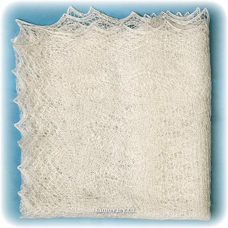 Оренбургский пуховый платок ручной работы, арт. ШП0001, 155Х60Палантин пуховый, цвет - белый.&#13;<br>Размер - 155х60 см.&#13;<br>Состав: козий пух – 85%, шелк натуральный – 15%<br>
