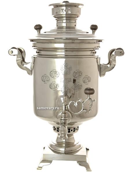 Комбинированный самовар 5 литров никелированный цилиндр, Товарищество ТД братьев Шемариных, арт. 320549Самовар комбинированный &#13;<br>никелированый цилиндр антикварный. &#13;<br>Труба для отвода дыма в комплекте.<br>