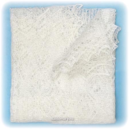 Оренбургский пуховый платок ручной работы, арт. ШП0026, 150х50Палантин пуховый, цвет - экрю.<br>Размер - 150х50 см.<br>Состав: козий пух – 85%, шелк натуральный – 15%<br>