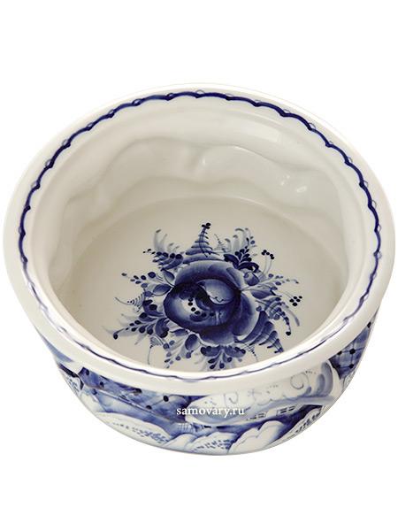 Ваза для конфет Деревенька с художественной росписью ГжельКерамическая ваза с ручной росписью.<br>