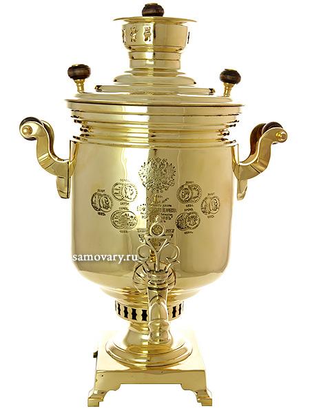 """Комбинированный самовар антикварный 7 литров желтый латунный """"цилиндр"""", произведен в начале XX века на фабрике Н.И.Баташева, с медалями,"""