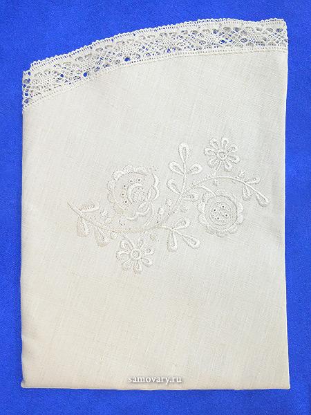 Льняная скатерть круглая цвет слоновой кости со светлым кружевом и кружевной вышивкой (Вологодское кружево), арт. 5с-616а, d-90