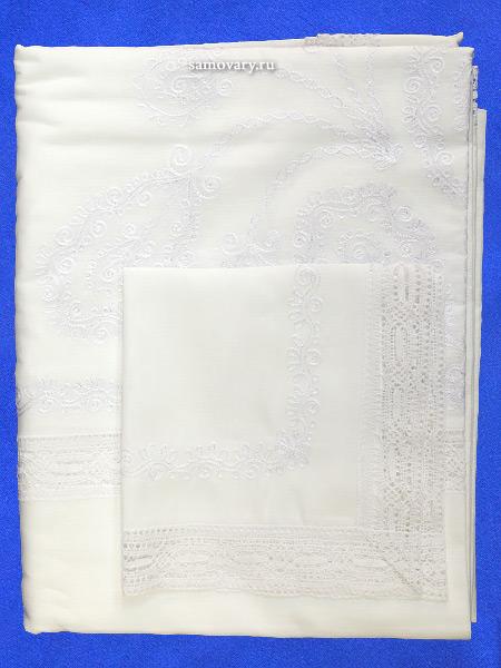 Комплект столового белья Вологодское кружево- лен с вышивкой Вологодским кружевом, цвет белый, белое кружево, арт. 6нхп-664