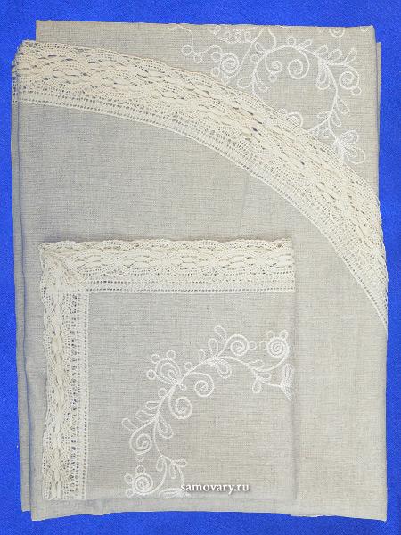 Комплект столового белья светло-серый - лен с вышивкой Вологодским кружевом, арт. 0нхп-523
