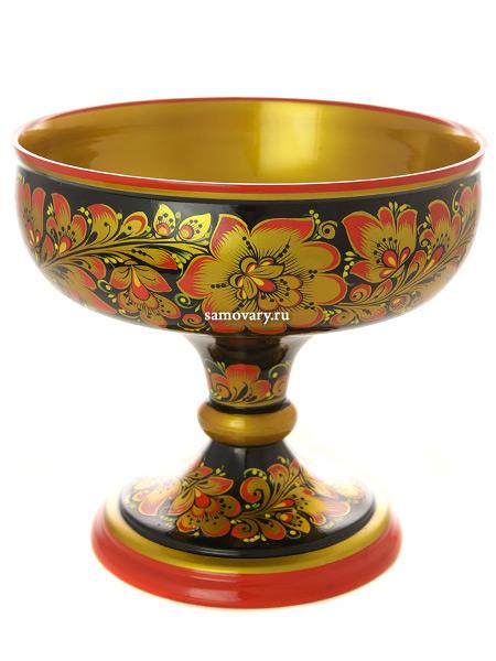 Деревянная ваза для фруктов хохлома Кудрина.Преданья старины с красным, арт.04410180195Деревянная ваза для фруктов с хохломской росписью.&#13;<br>Размер - 180х95 мм.<br>
