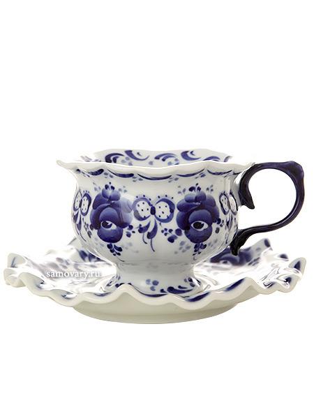 Чайная пара с художественной росписью Гжель ЛюбимаяКерамическая чайная пара с ручной художественной росписью.<br>Объем - 150 мл<br>