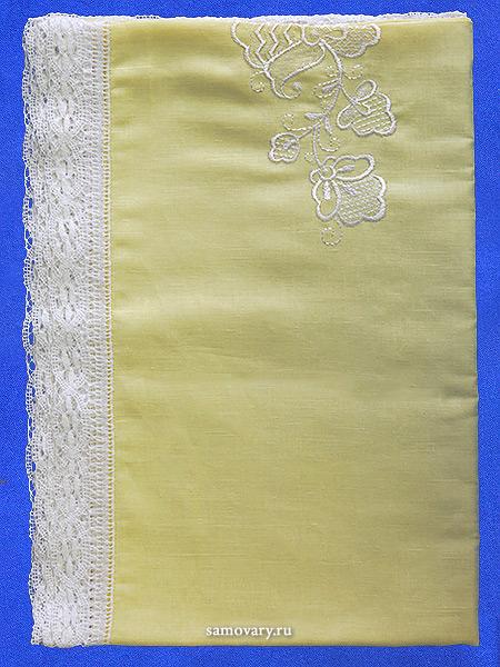 Вологодское кружево,Льняная квадратная скатерть желтая со светлым кружевом, арт. 1с-967, 150х150 Тульские самовары