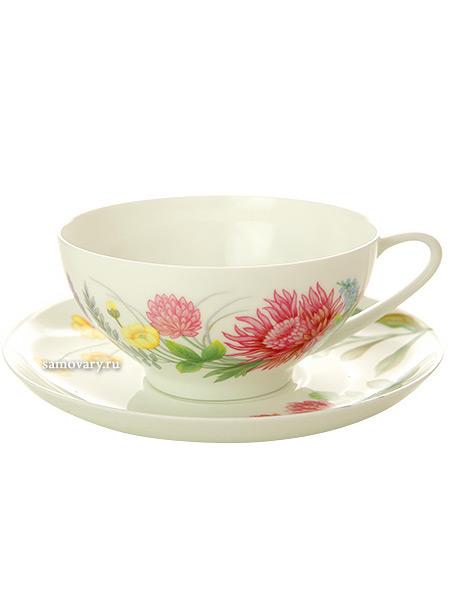 Чашка с блюдцем чайная форма Купольная, рисунок Полевые цветы 2, Императорский фарфоровый заводФарфоровая чайная пара.&#13;<br>Объем  - 300 мл.<br>
