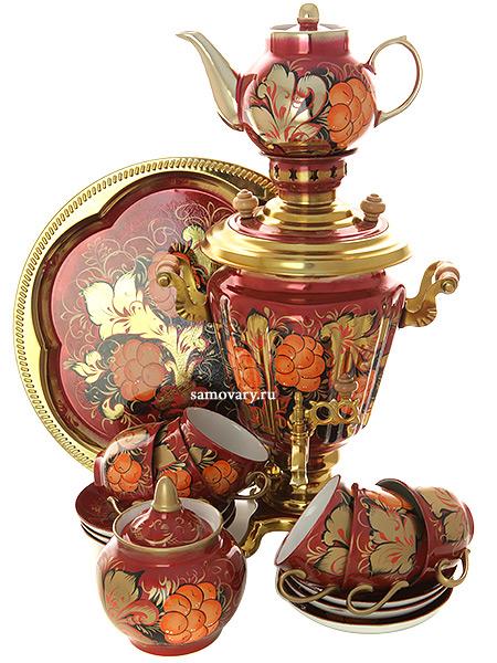 """Набор самовар электрический 3 литра с художественной росписью """"Грозди рябины на бордовом фоне"""" с чайным сервизом, арт. 160324с Тула"""