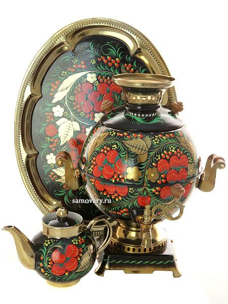 Набор самовар электрический 5 литров с художественной росписью Хохлома классическая на черном фоне, арт. 151553Самовары электрические<br>Комплект из трех предметов:латунный самовар, металлический поднос и заварочный чайник.<br>