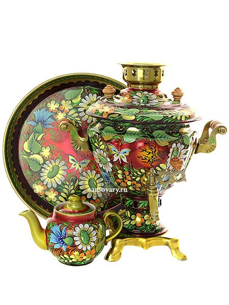 Набор самовар электрический 2 л с чайником  роспись Солнышко, арт. 110331Самовары электрические<br>Комплект из трех предметов:латунный самовар, металлический поднос и заварочный чайник.<br>