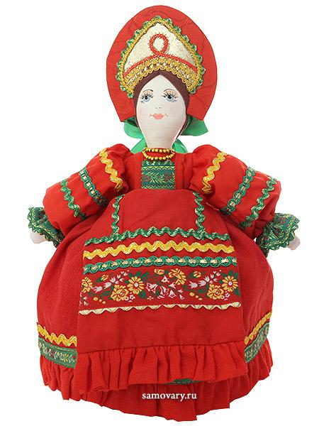 Кукла для улучшения заваривания чая Маня в красномКукла тряпичная декоративная на заварочный чайник.&#13;<br>Высота - 36 см.&#13;<br>Материал - лен.<br>