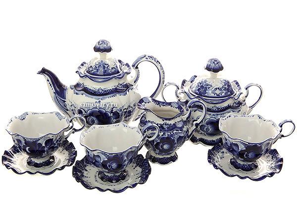 Набор чайный на 6 персон с художественной росписью Гжель Нежное утроГжельский набор из 6 чайных пар, чайника, сахарницы и сливочника.<br>