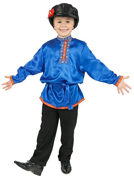Косоворотка детская атласная синяя, 7-12 лет