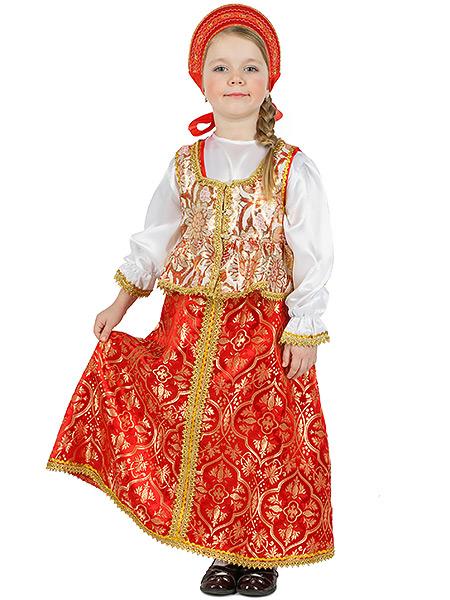 Русский народный костюм детский, атласный комплект  Люкс: сарафан и блузка, возраст 8-12 летДетский костюм для девочки 8-12 лет. &#13;<br>Ткань - атлас. Цвет - красный, золотой.<br>