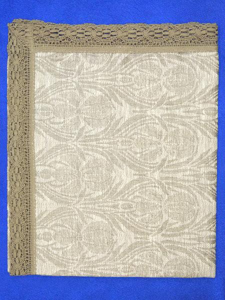 Льняная салфетка темно-серая с узорами с темно-серым кружевом и кружевной отделкой (Вологодское кружево), арт. 7нхп-755м, 115х65 ЗАО