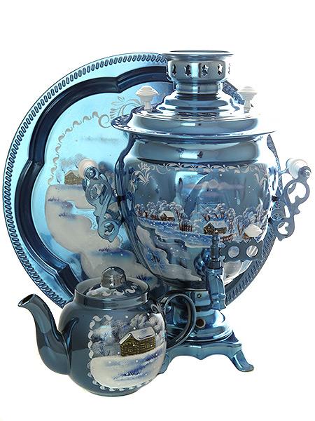 Набор самовар электрический 3 литра с художественной росписью Зимний вечер с автоматическим отключением при закипании, арт. 155648аКомплект из трех предметов:латунный самовар, металлический поднос и заварочный чайник.<br>Оборудован функцией автоматического отключения при закипании воды.<br>