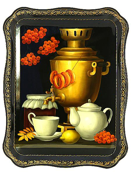 Поднос Жостово с художественной росписью Самовар с баранками, прямоугольный,  арт. 9067Поднос с ручной росписью.&#13;<br>Размер - 46*36 см.<br>